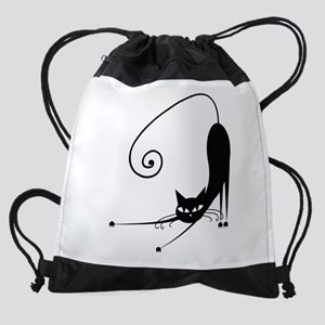 Black Cat Drawstring Bag