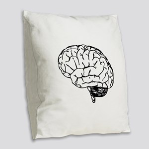 Brain Burlap Throw Pillow
