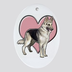 GSD heart Oval Ornament