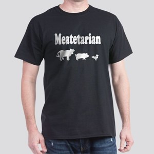 Meatetarian White on Black T-Shirt