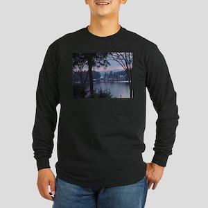 Lake George in wintertime Long Sleeve Dark T-Shirt