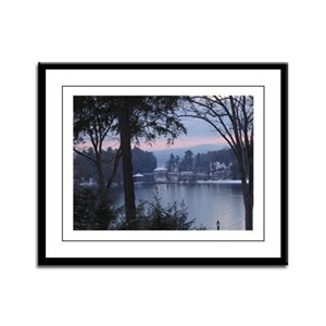 Lake George in wintertime Framed Panel Print