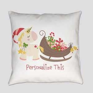 Unicorn Santa Sleigh Personalized Everyday Pillow