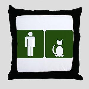 Cat Restroom: Man/Cat Throw Pillow