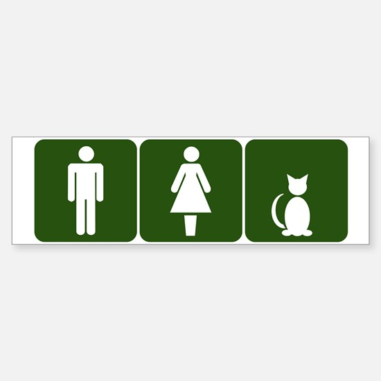 Cat Restroom Sign Bumper Bumper Bumper Sticker