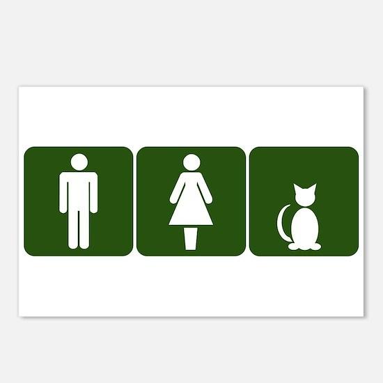 Cat Restroom Sign Postcards (Package of 8)