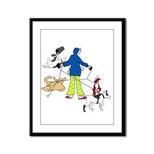Walking Flyball Dogs Framed Panel Print