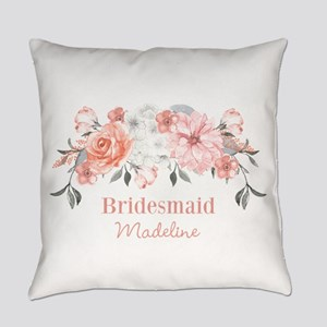 Peach Floral Bridesmaid Everyday Pillow
