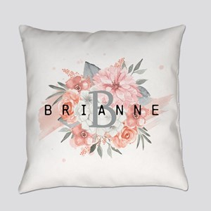 Peach Gray Floral Monogram Everyday Pillow