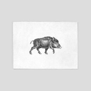 Wild Boar 5'x7'Area Rug
