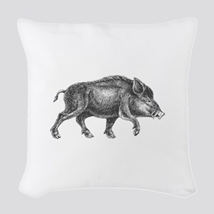 Wild Boar Woven Throw Pillow