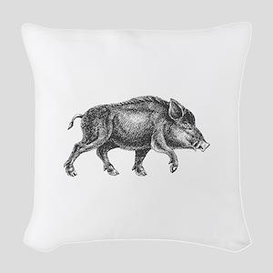 Wild Boar Woven Throw Pillow
