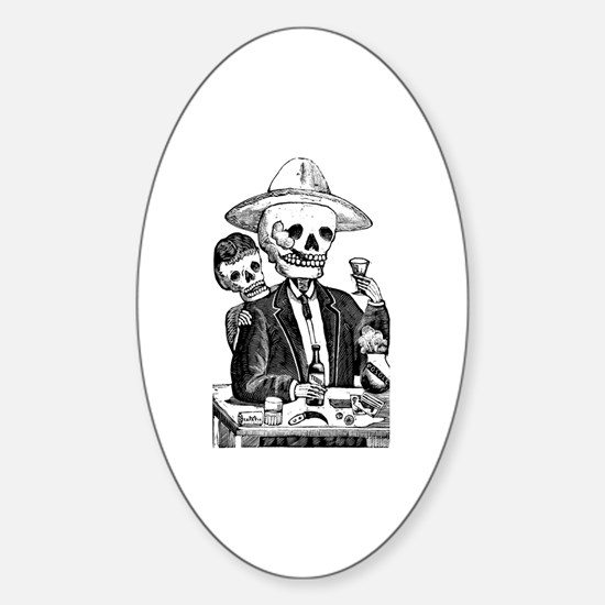 Calavera Tapatia Oval Decal