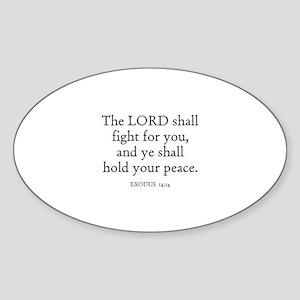 EXODUS 14:14 Oval Sticker