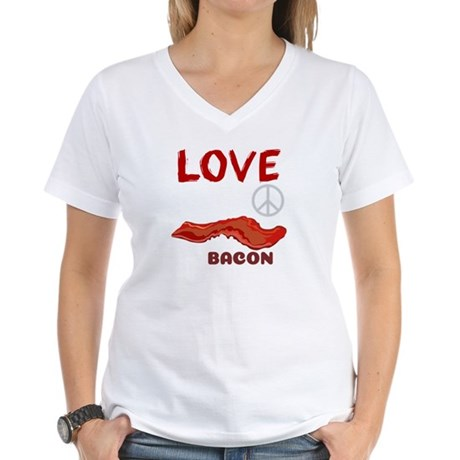 love peace and bacon grease women 39 s v neck t shirt love peace and bacon grease t shirt. Black Bedroom Furniture Sets. Home Design Ideas