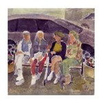 On the Bench Watercolor Tile Coaster