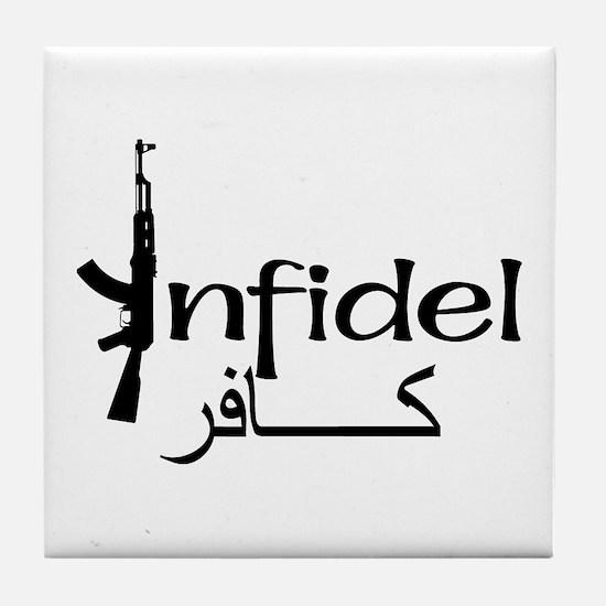 Infidel Ak47 (Arabic Text) Tile Coaster