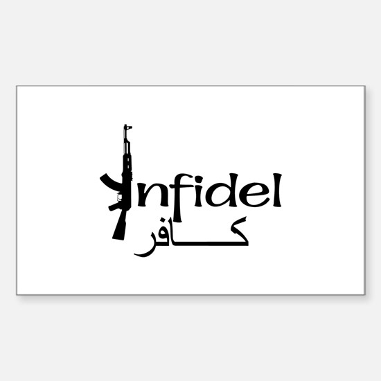 Infidel Ak47 (Arabic Text) Rectangle Decal