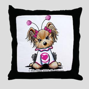 Love Bug Yorkie Throw Pillow