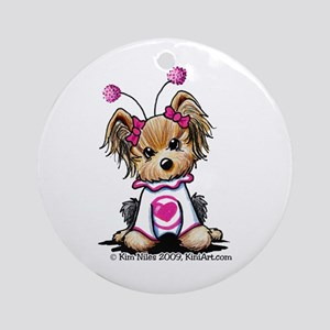 Love Bug Yorkie Ornament (Round)