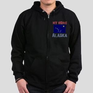 My Home Alaska Vintage Style Zip Hoodie (dark)