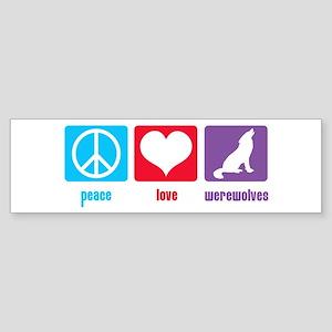 Peace Love Werewolves Bumper Sticker