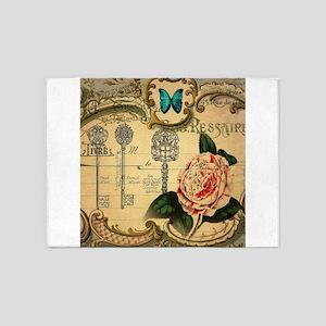 butterfly rose vintage keys victori 5'x7'Area Rug
