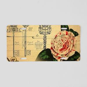butterfly rose vintage keys Aluminum License Plate