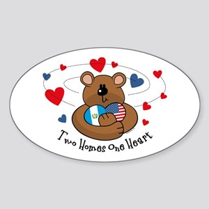 2 Homes 1 Heart Guatemala Oval Sticker