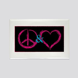Peace & Love Rectangle Magnet