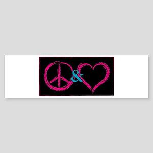 Peace & Love Bumper Sticker