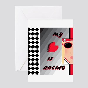 MY HEART IS RACING Blonde Greeting Card