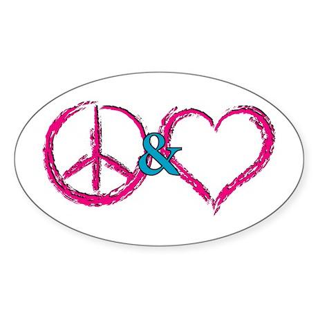 Peace & Love Oval Sticker