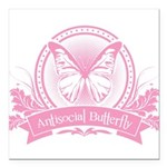 antisocial butterfly pink Square Car Magnet 3