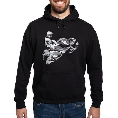 Camouflage Grey Snowmobiler Hoodie (dark)
