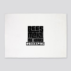 Bees Make Me Happy 5'x7'Area Rug
