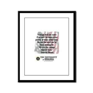 "Obama ""Change"" Quote Framed Panel Print"
