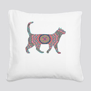 Cool Neon Cat Unique2 Square Canvas Pillow