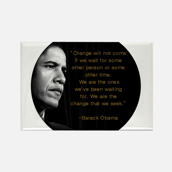 """Change will not come..."" Oba Rectangle Magnet (10"