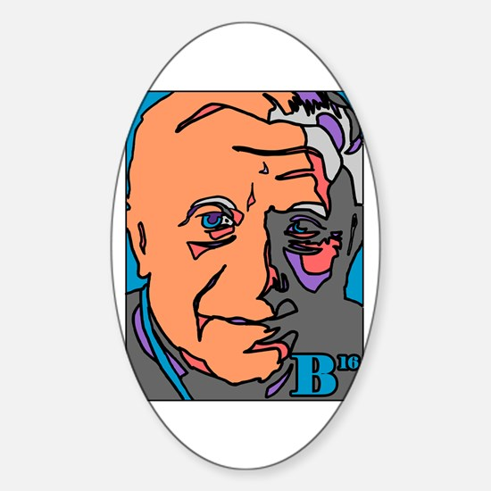 New Pope Papa Ratzi Stain Glass Oval Decal
