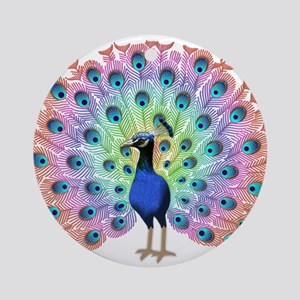 Colorful Peacock Round Ornament