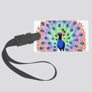 Colorful Peacock Large Luggage Tag