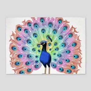 Colorful Peacock 5'x7'Area Rug