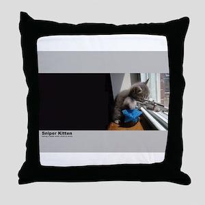 Sniper Kitten Throw Pillow