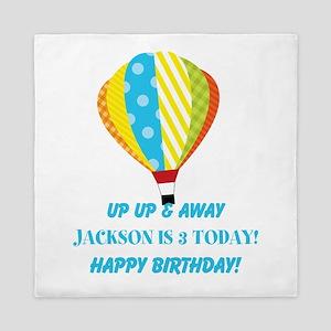 Birthday Any Age Hot Air Balloon Queen Duvet