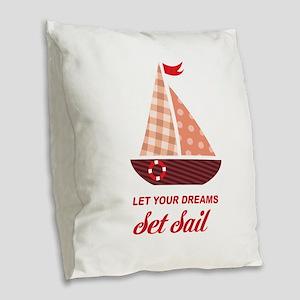 Nautical Sailboat Custom Text Burlap Throw Pillow