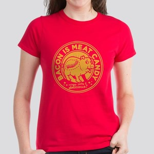 bacon is meat candy Women's Dark T-Shirt