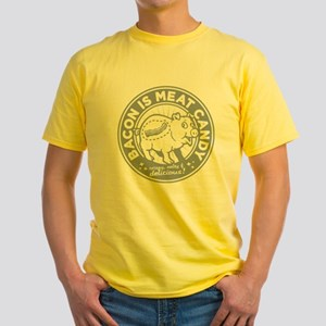 bacon is meat candy Yellow T-Shirt