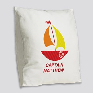 Captain Sailboat Personalized Burlap Throw Pillow