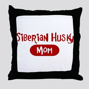 Siberian Husky mom Throw Pillow